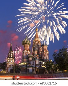 Fireworks over the Saint Basil cathedral ( Temple of Basil the Blessed), Red Square, Moscow, Russia