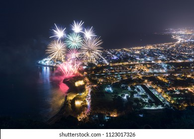 Fireworks over Saint Denis in Reunion Island