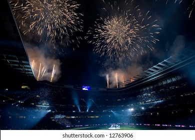 Fireworks over the Santiago Bernabeu stadium celebrating Real Madrid championship after final match of 2007-8 league season in Madrid, May 18, 2008.