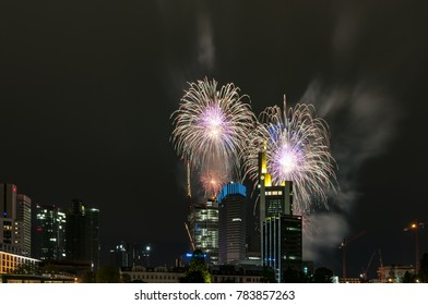 Fireworks over the skyline of Frankfurt am Main, Germany