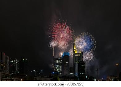 Fireworks over the skyline of Frankfurt am Main, Germany