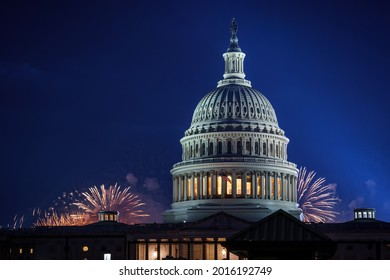 Fireworks over the United States Capitol on July 4, 2021.