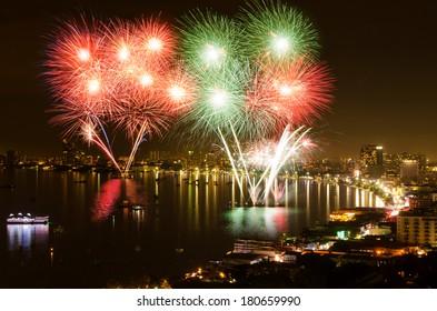 Fireworks at Pattaya City, Chonburi,Thailand