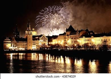 fireworks in prague - Shutterstock ID 43874029