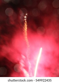 Fireworks with red smoke