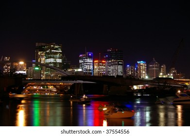 Fireworks reflected in the Brisbane water with skyscrapers during the river fire festival
