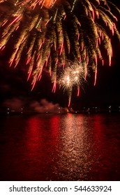 Fireworks reflected in the Potomac River in Washington DC.