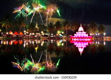 Fireworks with reflections and Loykrathong Festival, Historical Park Sukhothai, Thailand