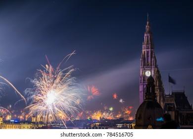 Fireworks ring in 2018 in Vienna, Austria