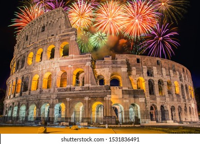 Fireworks in Roma, Italia (Rome - Italy). Colosseo during New Year's celebration
