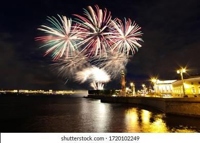 Fireworks in Saint Petersburg city center