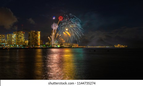 Fireworks seascape with moon and mars over waikiki skyline and diamond head crater landmark