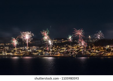 Fireworks at seaside panorama