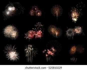 fireworks selection on a black background.