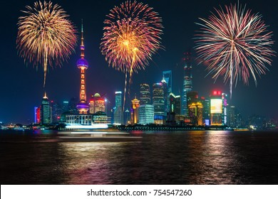 Fireworks in Shanghai, China celebration National Day of the People's Republic of China.