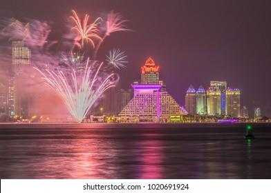 Fireworks at Sheraton Hotel in Doha Qatar