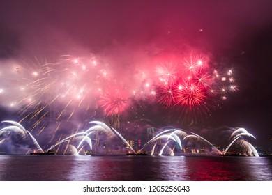 Fireworks show along Victoria harbor in Hong Kong, China.