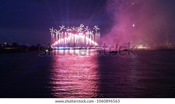 Fireworks show on river