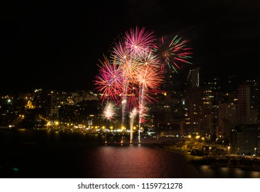 Fireworks show over the night spanish city