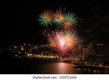 Fireworks show over the Spanish  night city