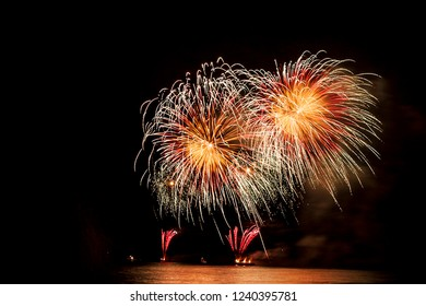 Fireworks show in Renaca beach in Chile