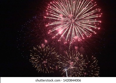 Fireworks in the sky, beautiful colorful celebration, 4th of July.