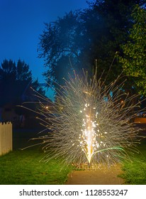 Fireworks sparklers outdoors long exposure
