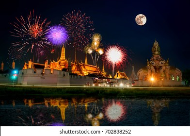 Fireworks at the Temple of the Emerald Buddha at night beautiful.