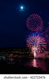 Fireworks in Tonsberg, Norway, National Day of Constitution