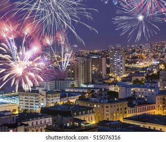 FIREWORKS IN VALPARAISO CHILE, NEW YEAR 2015. Landscape of celebrate New Year in Valparaiso Chile, The bigest fireworks in South America in New Year time
