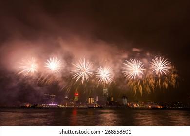 Fireworks at Victoria Harbor in Hong Kong