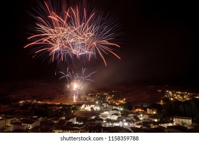 Fireworks in a village in a night summer