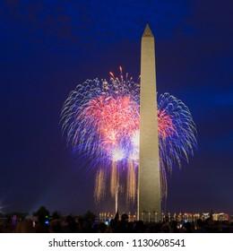 Fireworks at Washington monument, Washington DC,US On July,4th 2018