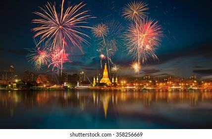 Fireworks at Wat arun