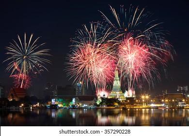 Fireworks at Wat arun under new year celebration time, Bangkok Thailand