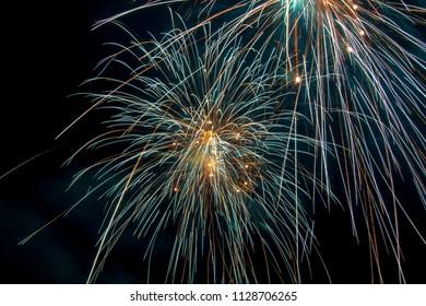 Fireworks in water on sea near Follonica, Italy