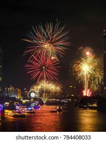 Fireworks to welcome the new year 2018 on the Chao Phraya River, Bangkok, Thailand. Most popular city in south asia.