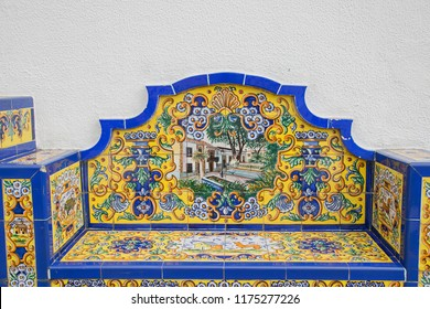 "Firgas, Spain. September, 4 th 2018: ""Ceramic bench""."