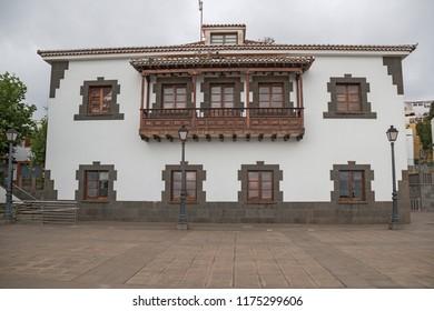 Firgas, Spain. September, 4 th 2018: White building.