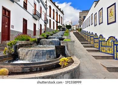 Firgas.Tasteful waterfall cascade on Paseo de Gran Canaria.