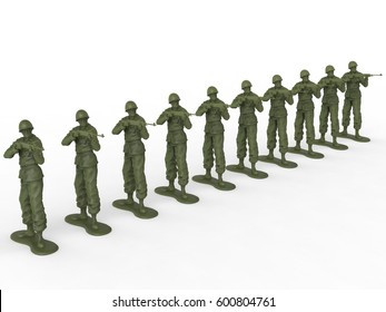Firing squad of toy soldiers - 3D Illustration