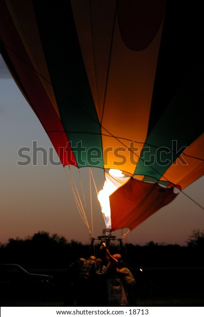 Firing Up:  Hot air balloon glow from First Annual Hugo Oklahoma Balloon Festival