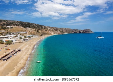 Firiplaka beach, Milos Island, Cyclades, Greece. Aerial view