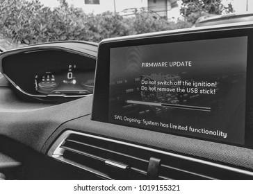 Firmware update on a modern car.