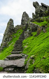 First of 600 steps rising up to Skellig Michael (Great Skellig), well-preserved ancient Irish Christian monastery with spiritual and historical significance, located in the Atlantic Ocean.