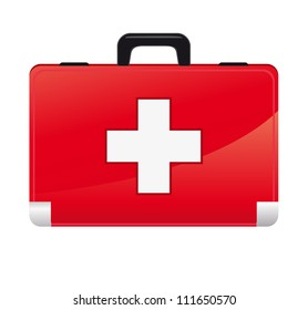 first aid box on white background