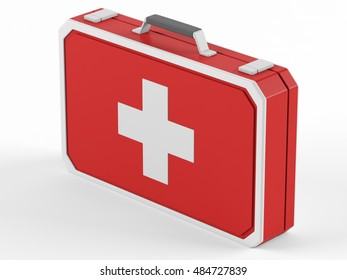 First aid box on a white background. 3D rendering.