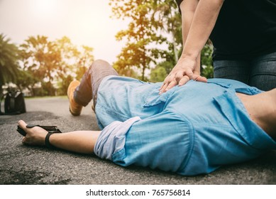 First Aid Emergency CPR on a Man who has Heart Attack or Shock , One Part of the Process Resuscitation - Healthcare Concept