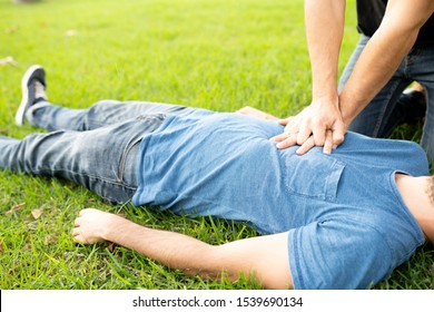 First Aid Emergency CPR rcp on Heart Attack Man , Resuscitation cardiopulmonary