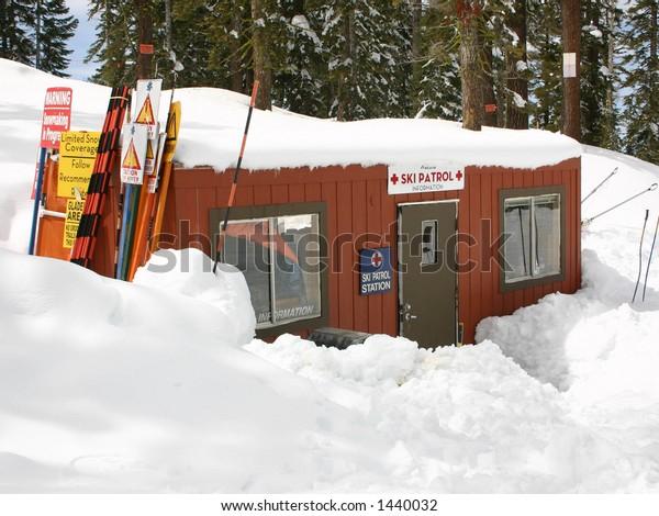 First aid hut for ski patrol at a ski mountain